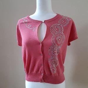 BEBE Pink Cardigan Detailed Top LARGE